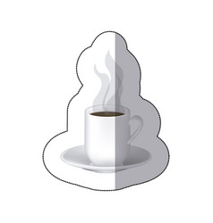 color coffee cuppa with steam with plate vector image