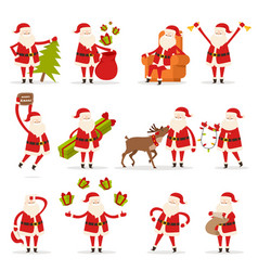 Santa claus activities set new year and christmas vector