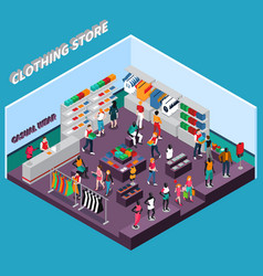 Clothing store with mannequins vector