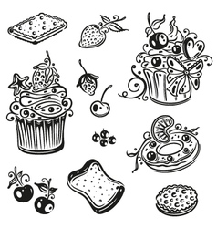 Muffins donuts cupcakes vector