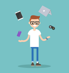 young nerd juggling electronic devices editable vector image