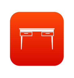wooden table icon digital red vector image