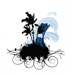 island with wave vector image