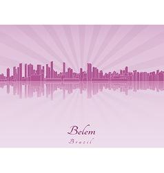 Belem skyline in purple radiant orchid vector