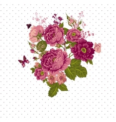 Vintage roses background with butterflies vector