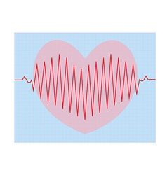 Red heart beats with cardiogram vector