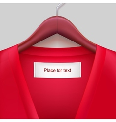 T-shirt with label hanging on a hanger vector