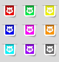 Route 88 highway icon sign set of multicolored vector