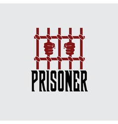Prisoner hands behind bars design template vector