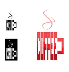 Word coffee from shades of red in a cup shape can vector