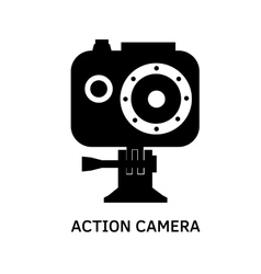 Action camera icon - black video cam symbol vector