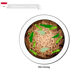 Mie goreng or indonesian stir fried noodles vector