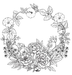 Frame with hand drawn wreath of peony vector
