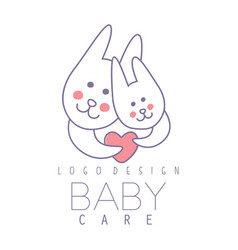 baby care logo design emblem with two cute vector image