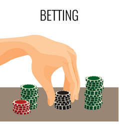 Betting concept hand moving poker chips isolated vector