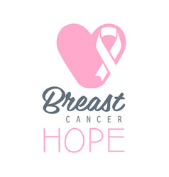 Breast cancer hope label in vector