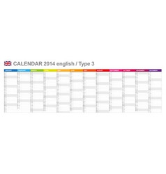 Calendar 2014 English Type 3 vector image vector image
