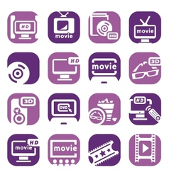 color movie icons set vector image vector image