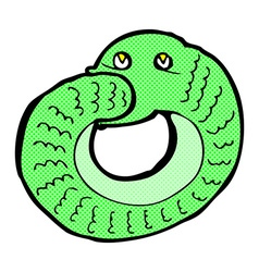 Comic cartoon snake eating own tail vector