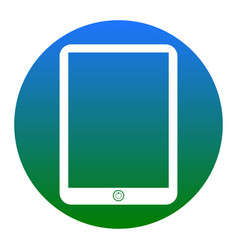computer tablet sign white icon in bluish vector image