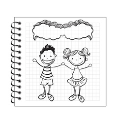 Doodle kids with speech bubble on notepad vector