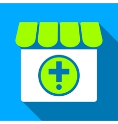 Drugstore flat long shadow square icon vector