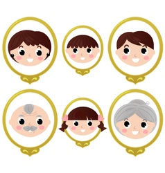 Family members vintage photos vector image vector image