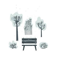 flat bench tree bush icon isolated vector image