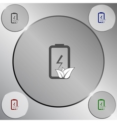 Flat paper cut style icon of eco friendly battery vector image