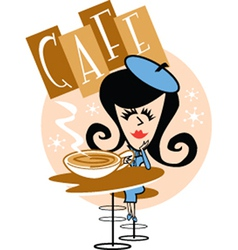 Girl in a cafe vector image