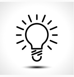 glowing bulb icon on white background vector image vector image