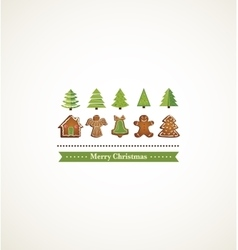 Happy holiday card with christmas trees and vector