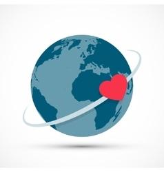 Heart revolves around the earth vector