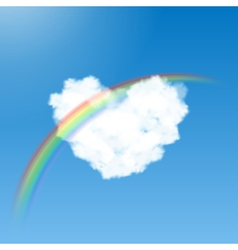 Heart shaped cloud and rainbow vector image