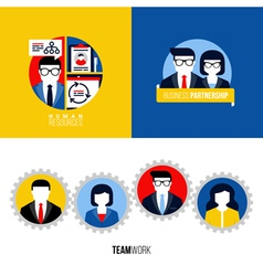 Human resources business partnership teamwork vector