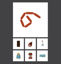 Icon flat eating set of ketchup bratwurst meat vector