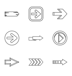 Kind of arrow icons set outline style vector image vector image