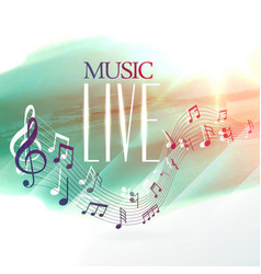 Live music design poster with notes wave vector