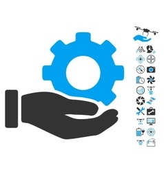 Mechanic gear service hand icon with copter tools vector