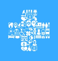 Medical icons made in form cross vector