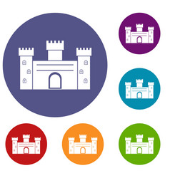 Medieval fortification icons set vector