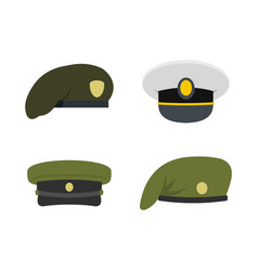 military cap icon set flat style vector image