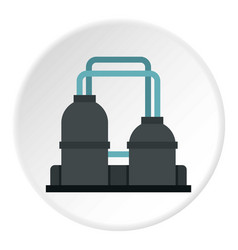 Oil refinery plant icon circle vector