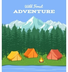 Outdoor camping nature background with river and vector
