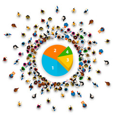 People surround the pie chart vector