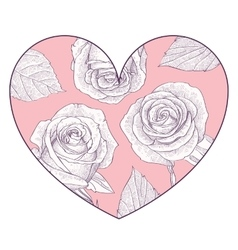 Pink heart with hand drawn roses vector image