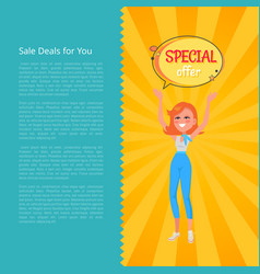sale deals for you poster with woman holding board vector image