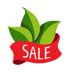 Sale of goods logo green leaves vector