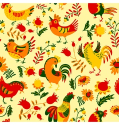 Seamless pattern with roosters vector image vector image