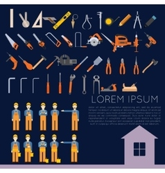 Set of icons owith tools for repair vector